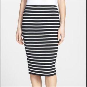 Vince Camino striped stretchy midi skirt - M